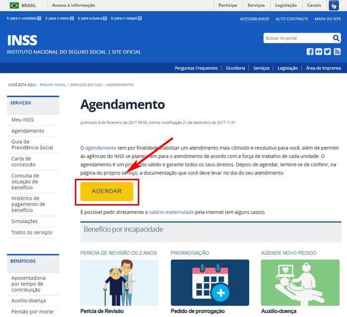 Agendamento do INSS pela Internet