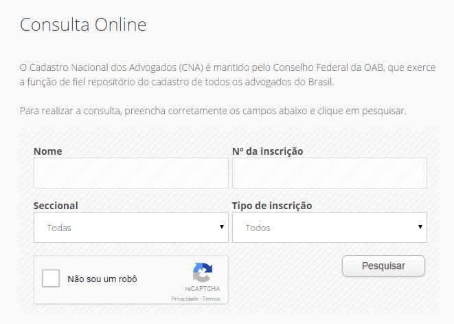 Painel Consulta CNA OAB